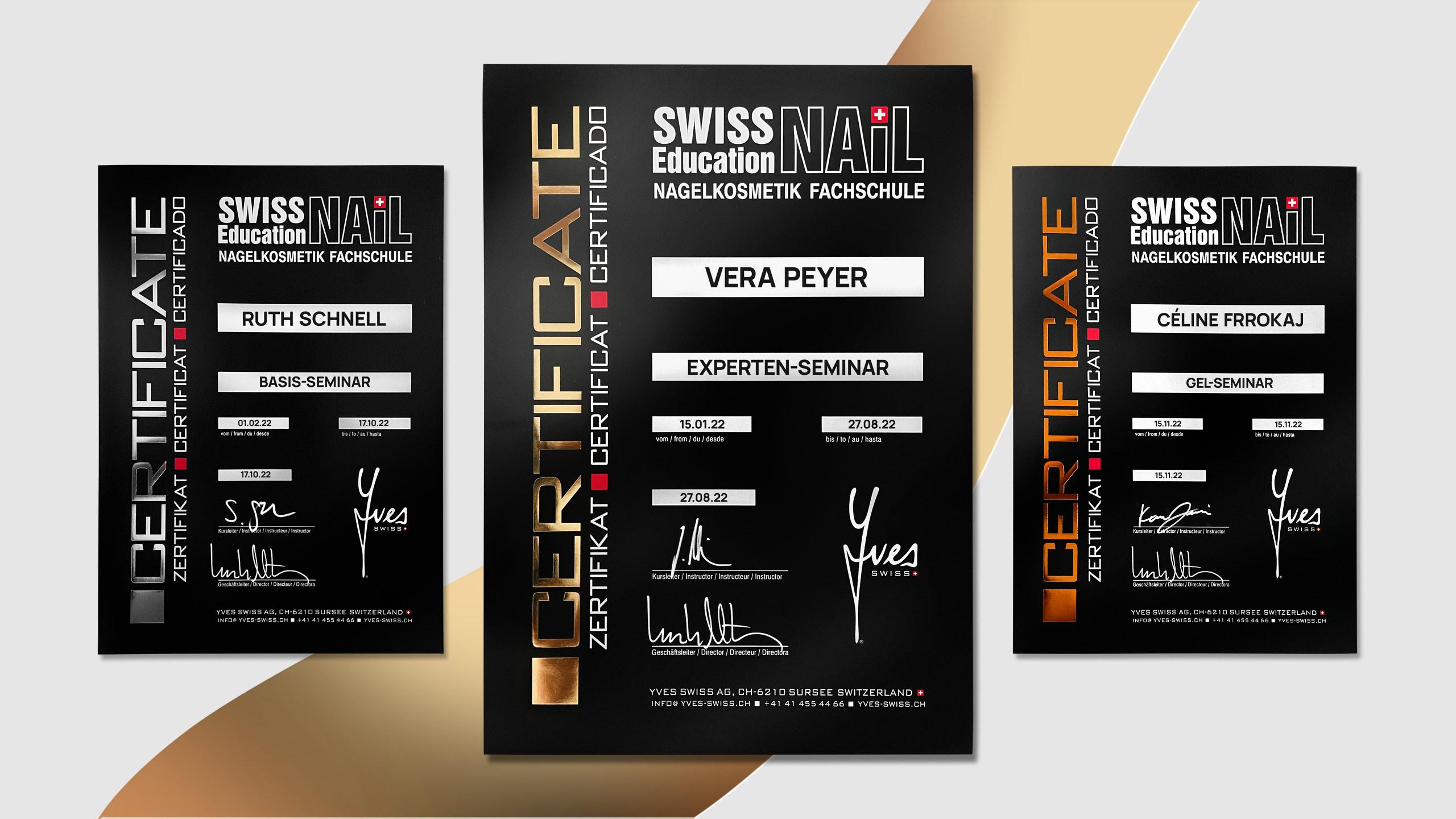 Yves Swiss AG   Zertifikate